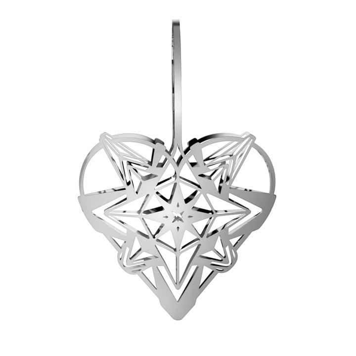 The Karen Blixens Christmas heart, H 25,6 cm, silver by Rosendahl
