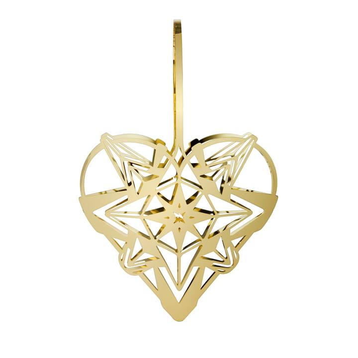 The Karen Blixens Christmas heart, h 25,6 cm, gold by Rosendahl