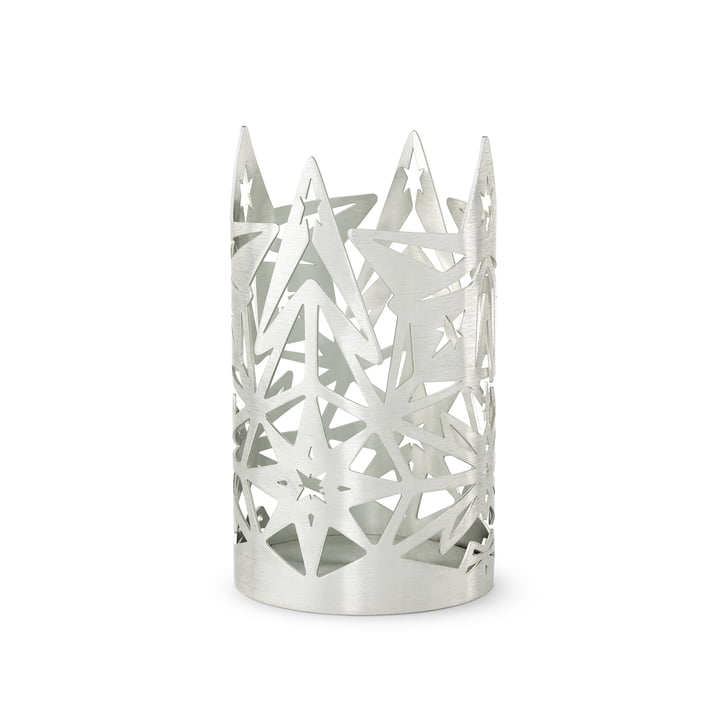 The Karen Blixen block candle holder, H 13.5 x Ø 8 cm, silver by Rosendahl