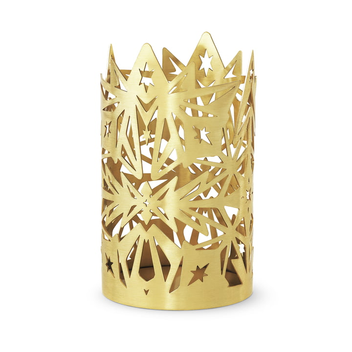 The Karen Blixen block candlesticks, h 16 x Ø 9,5 cm, gold by Rosendahl