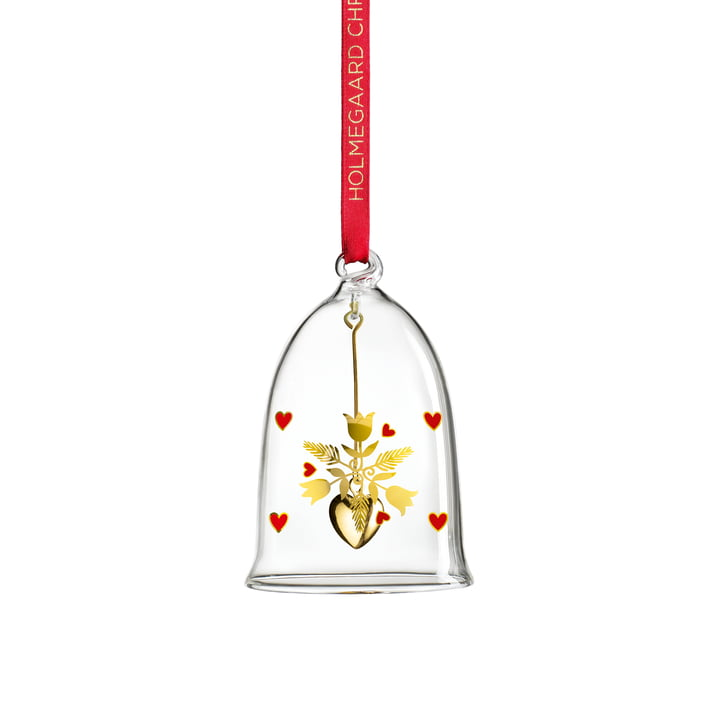 The Christmas bell 2020, H 8 cm, glass from Holmegaard