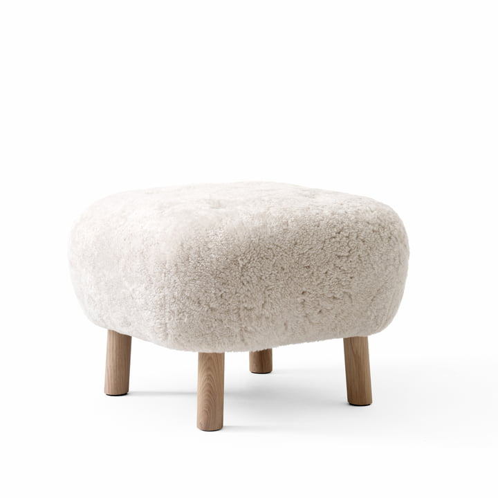 The Pouf ATD1, Sheep Moonlight / Oak white pigmented from & tradtion