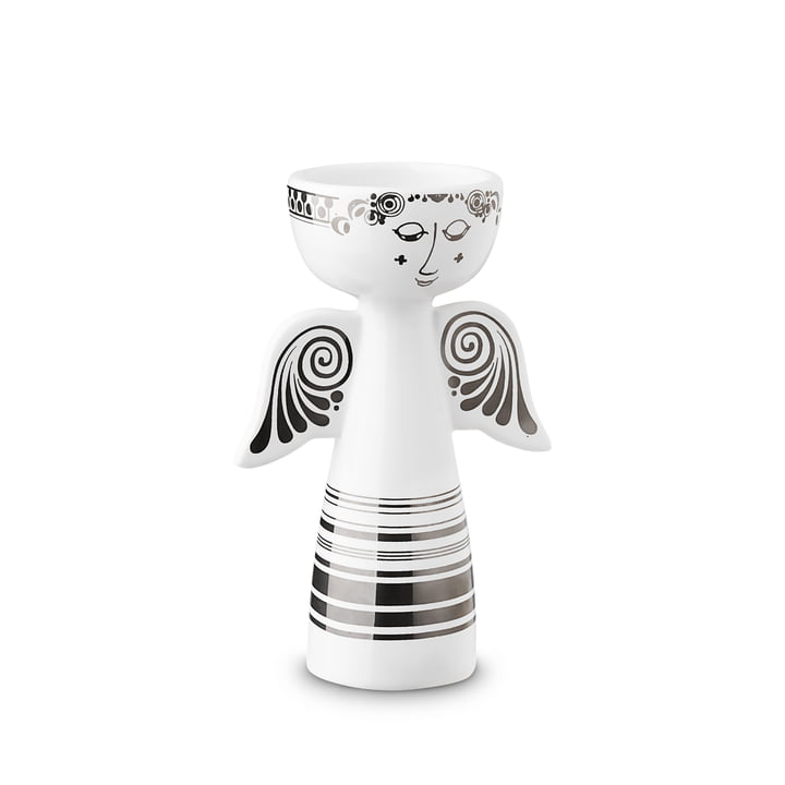 Lucia tea light holder, angel H 13,5 cm, silver by Bjørn Wiinblad