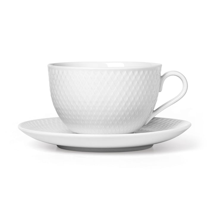 The Rhombe tea cup and saucer, 39 cl, white from Lyngby Porcelæn