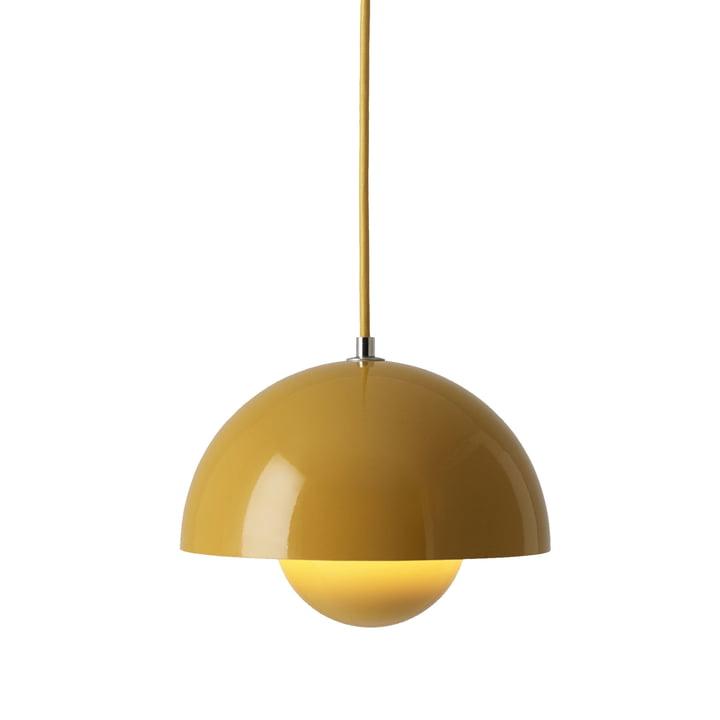 The FlowerPot pendant lamp VP1 from & Tradition, mustard