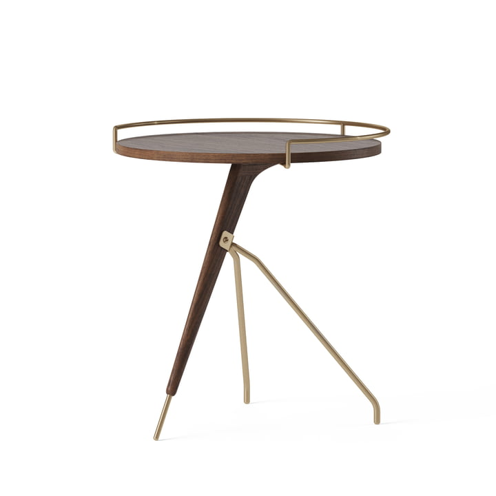The Umanoff side table Ø 43 / 40 x H 45 cm, walnut / brass from Menu
