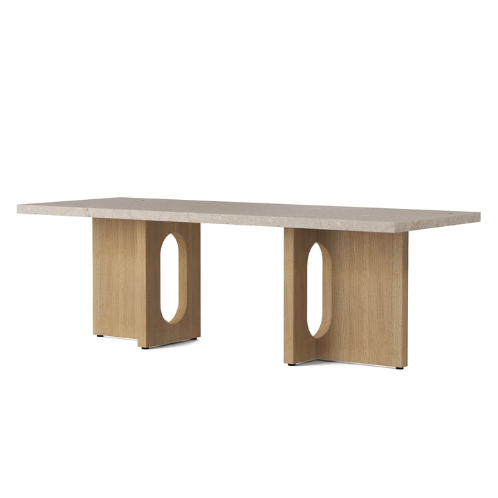 The coffee Androgyne table 120 x 45 cm, natural oak / Kunis Breccia sand from Menu