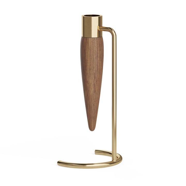 The Umanoff candleholder, brass / walnut from Menu