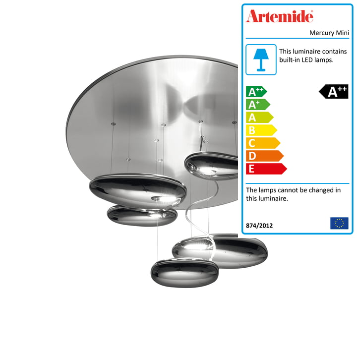 Mercury Mini LED ceiling light, 2700K / polished chrome by Artemide