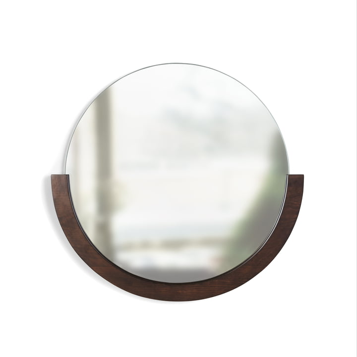 The Mira wall mirror from Umbra in walnut