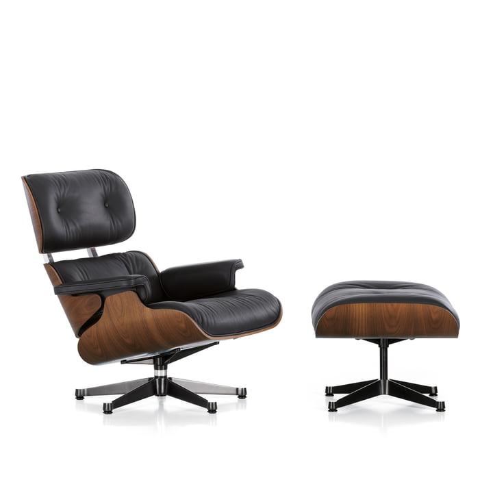 Vitra - Lounge Chair & Ottomann, walnut black pigmented, polished / sides black, leather premium black, felt glides (new dimensions)
