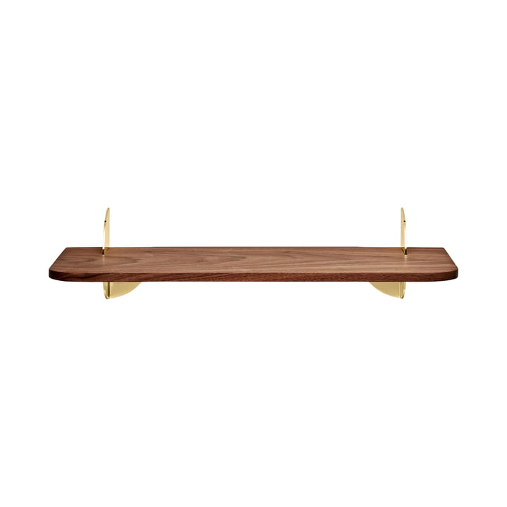 The Aedes wall shelf, Small, walnut / gold by AYTM