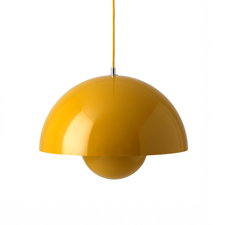 FlowerPot Pendant light VP7 in mustard by & tradition