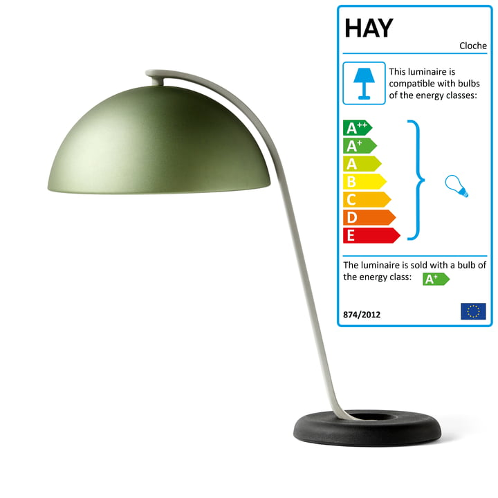 The Cloche table lamp, mint green / black by Hay