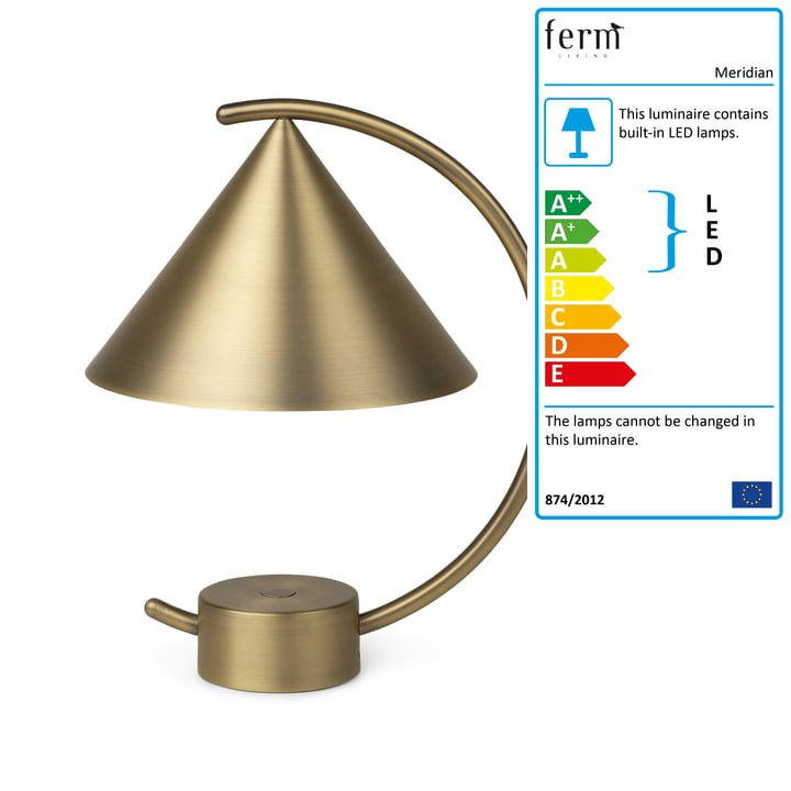 The Meridian table lamp from ferm Living in brass