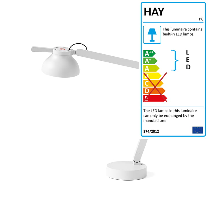 The PC Double Arm LED table lamp from Hay in ash grey