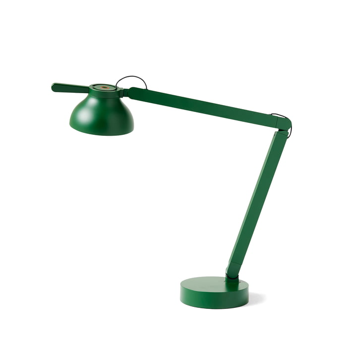 The PC Double Arm LED table lamp from Hay in leaf green