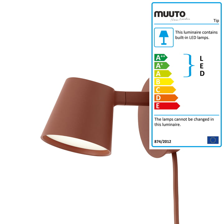 The Tip wall light from Muuto in copper-brown
