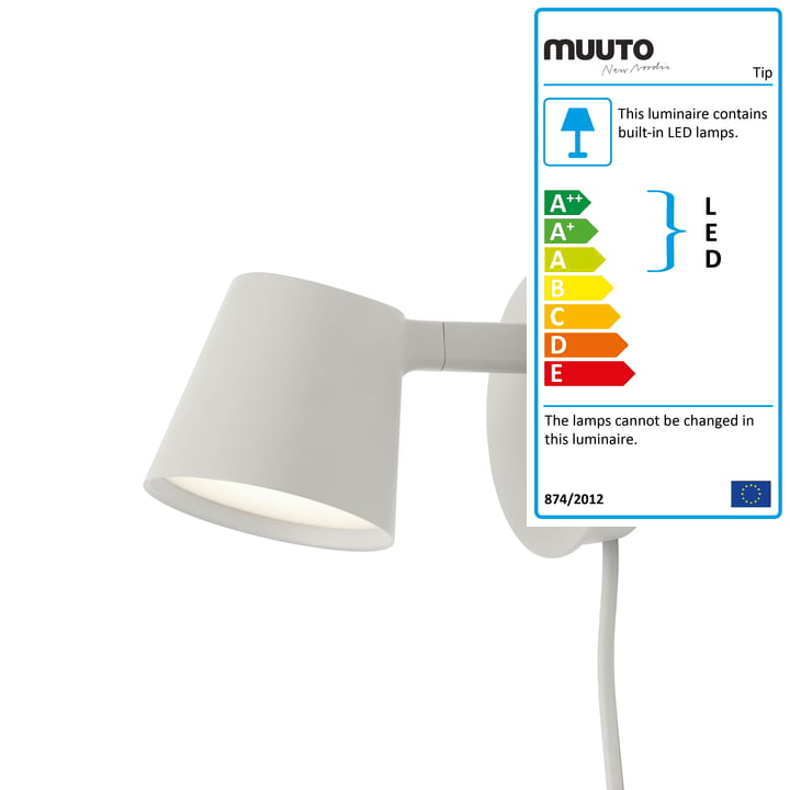 The Tip wall light from Muuto in grey