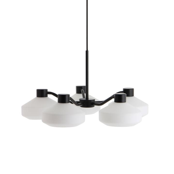 The Mayor chandelier 5-armed from Frandsen in black matt / opal white