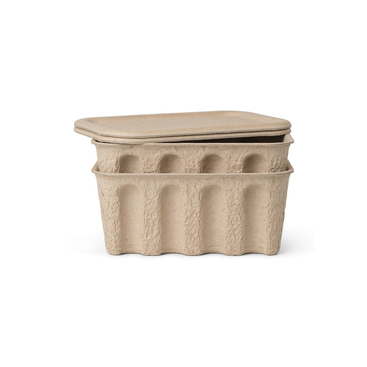 The small Paper Pulp box from ferm Living in brown (set of 2)