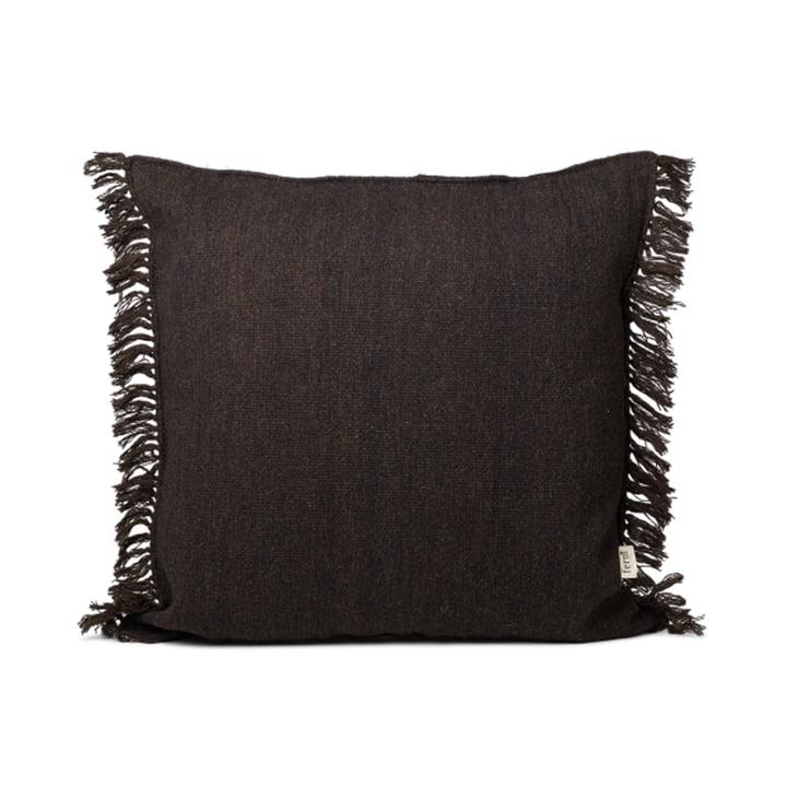 The Kelim Fringe cushion by ferm Living in dark melange, 80 x 80 cm