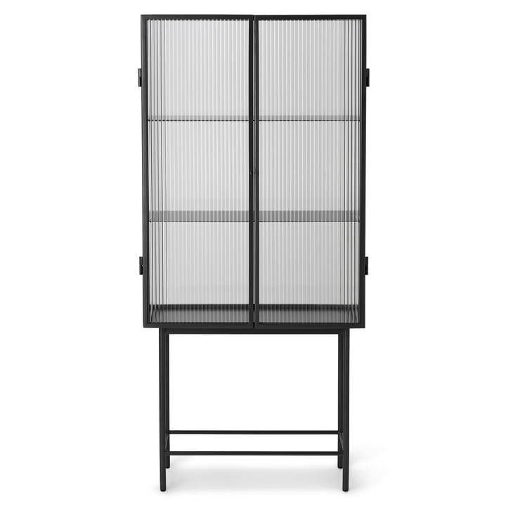 The Haze Display case from ferm Living, Reeded Glas, in black