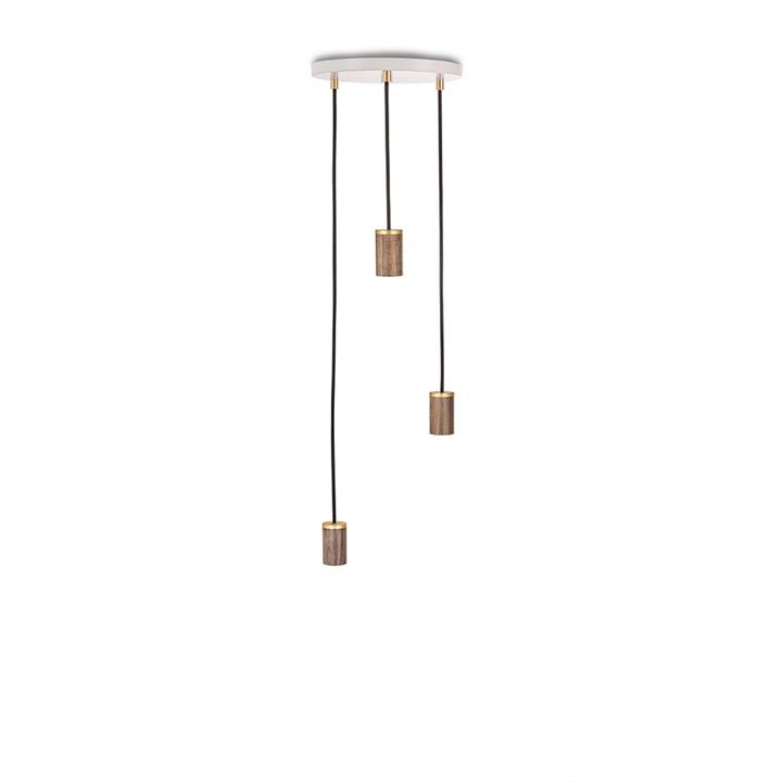 Brass Triple Pendant lamp, white / walnut / brass from Tala