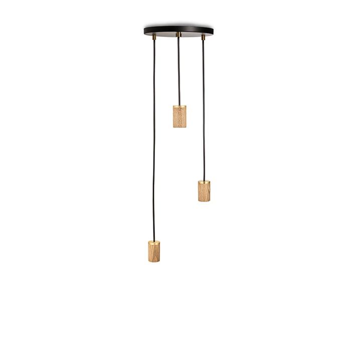 Brass Triple Pendant lamp, black / oak / brass from Tala