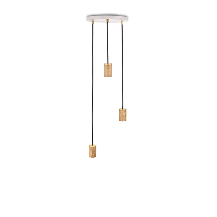Brass Triple Pendant lamp, white / oak / brass from Tala