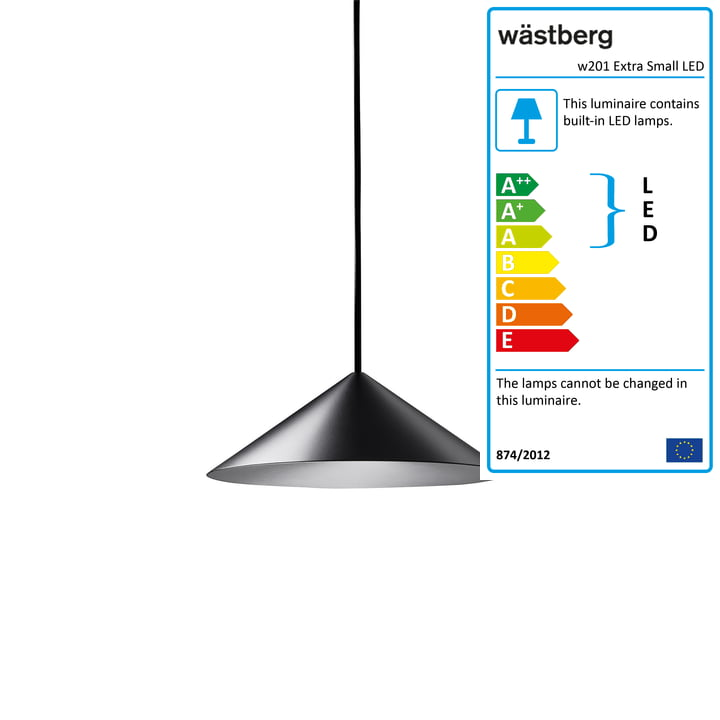 The w201 Extra Small LED pendant light S3 from Wästberg in black