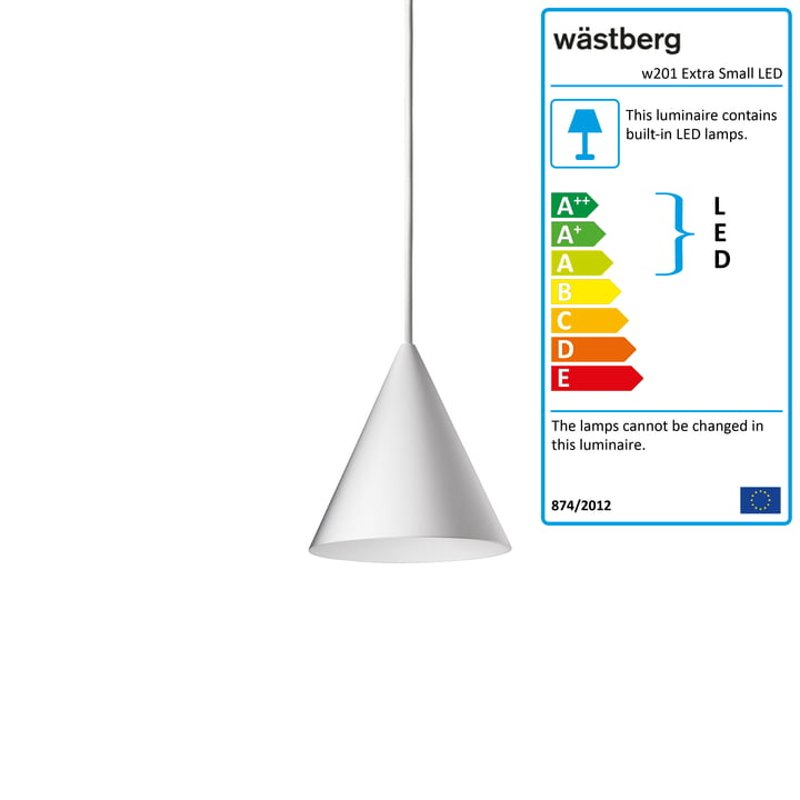 The w201 Extra Small LED pendant luminaire S2 from Wästberg in white