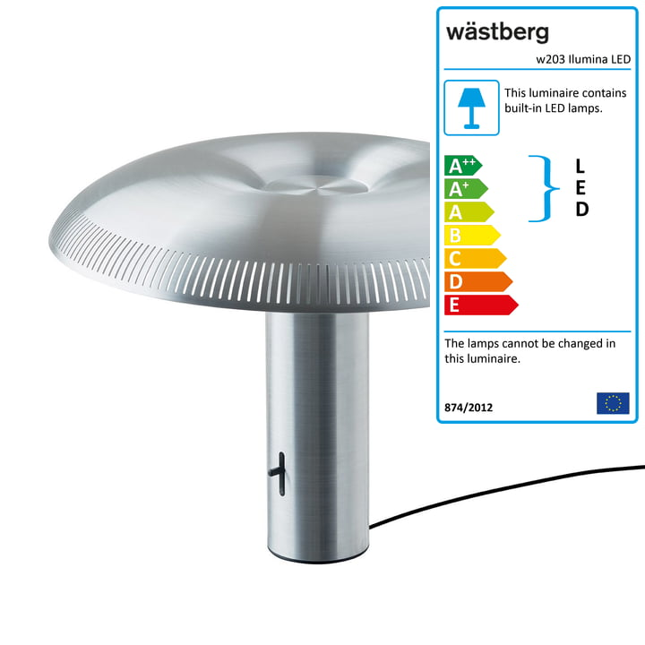 The w203 Ilumina LED table lamp from Wästberg in aluminium