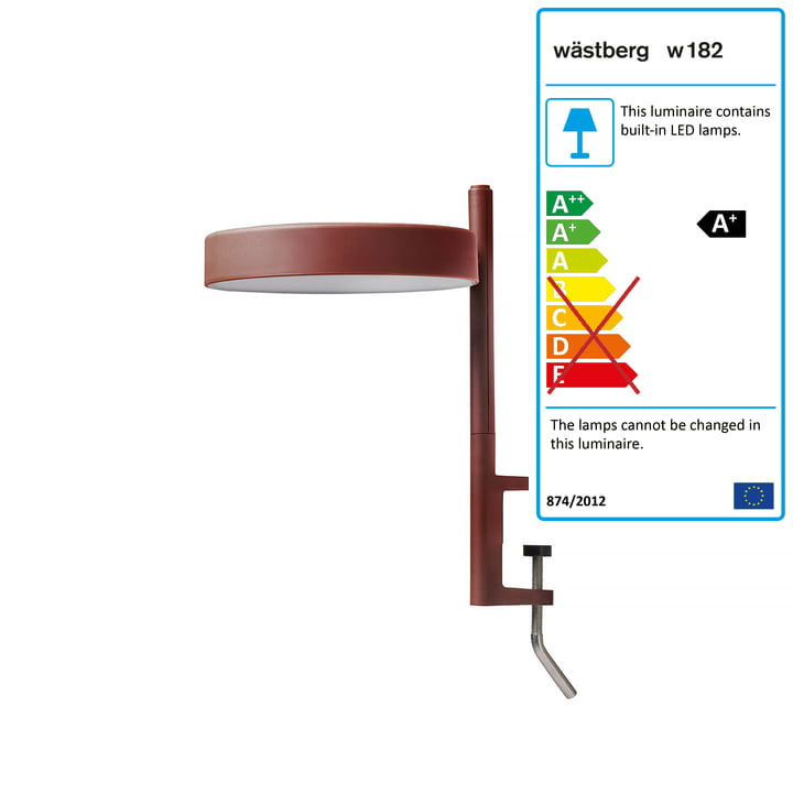 The w182 Pastille LED clamp light c1 from Wästberg in oxide red