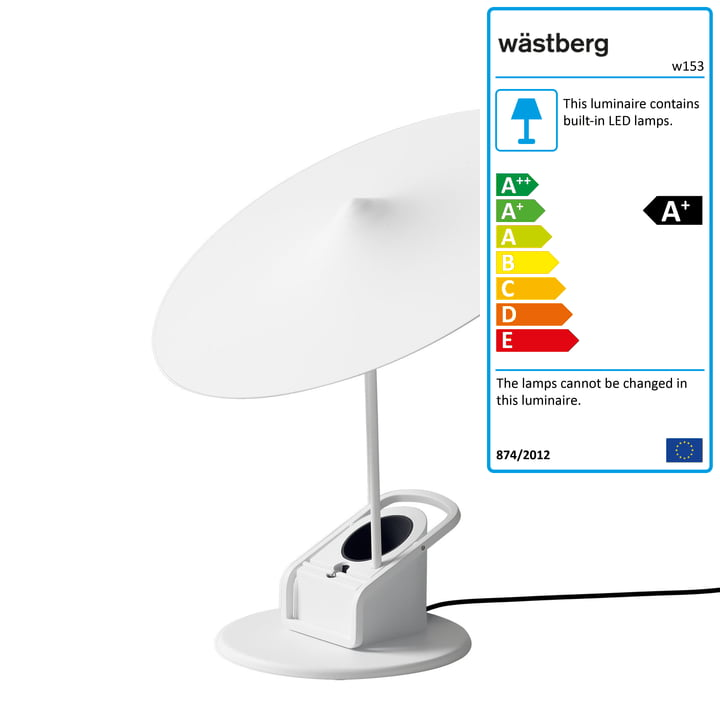 The w153 île LED table lamp from Wästberg in traffic white