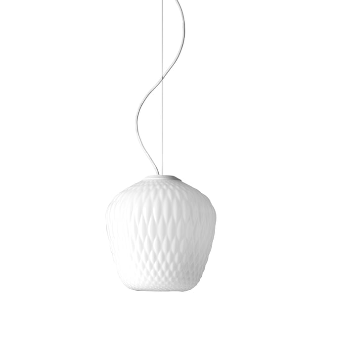 Blown SW3 pendant luminaire from & Tradition in opal / cable white