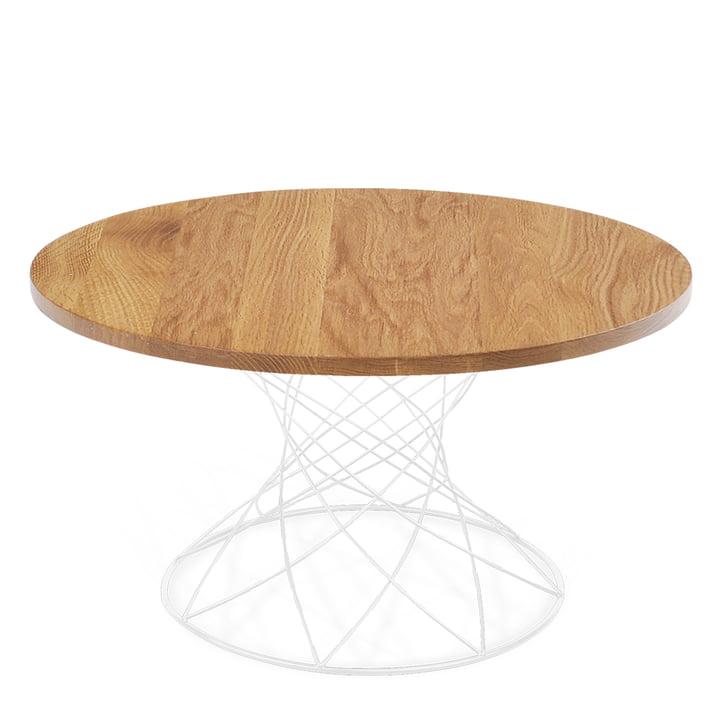 Merge coffee table H 45 Ø 80 cm, white / oak from Ox Denmarq