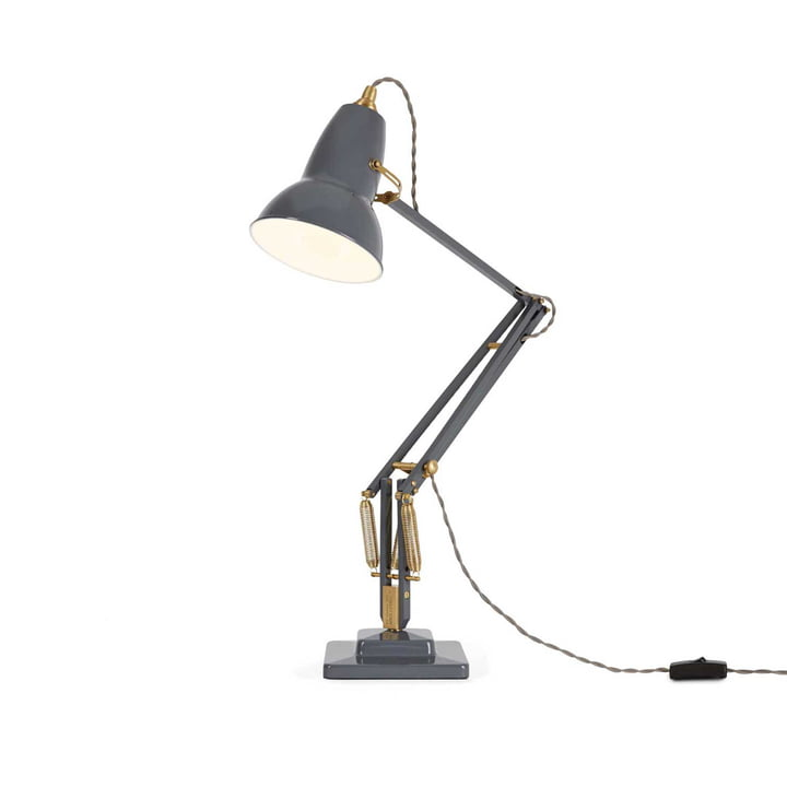 Original 1227 brass table lamp by Anglepoise in elephant gray