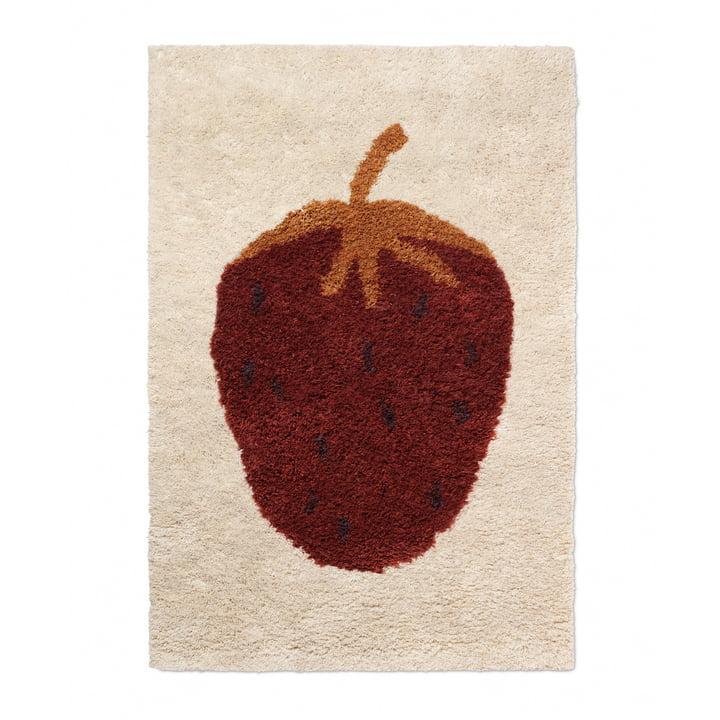 """The Fruiticana carpet """"Strawberry"""" by ferm Living, 120 x 180 cm"""