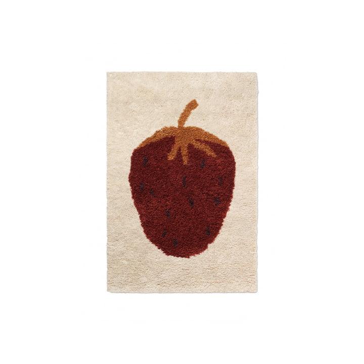 """The Fruiticana carpet """"Strawberry"""" by ferm Living, 80 x 120 cm"""
