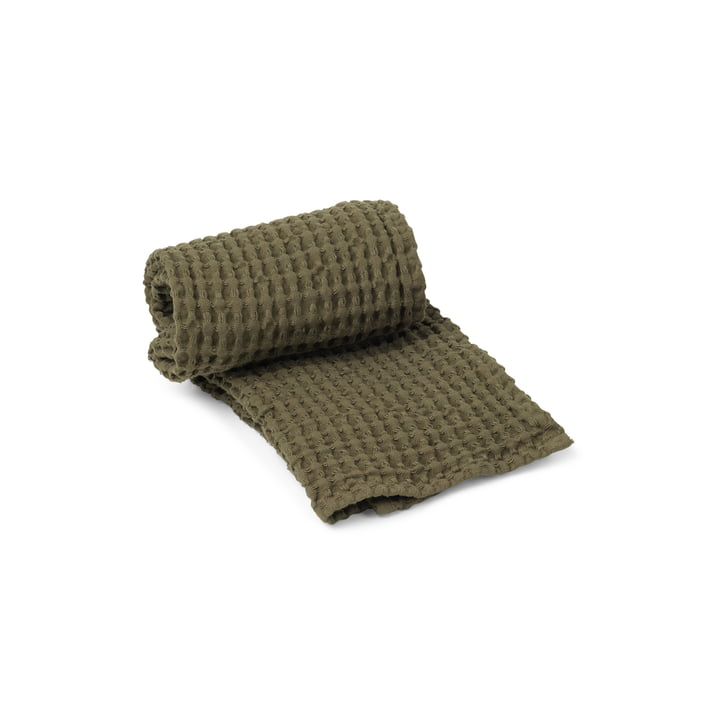 The Organic towel from ferm Living in olive, 100 x 50 cm