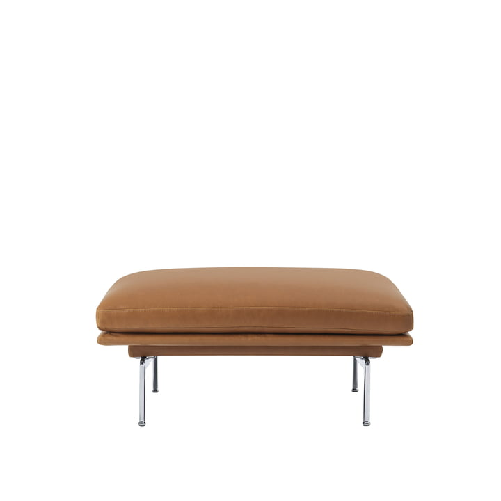 The Outline Sofa Pouf from Muuto with polished aluminium legs