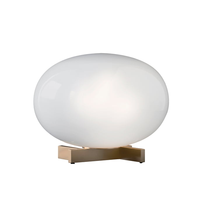 Alba table lamp 265, opal glass / brass by Oluce