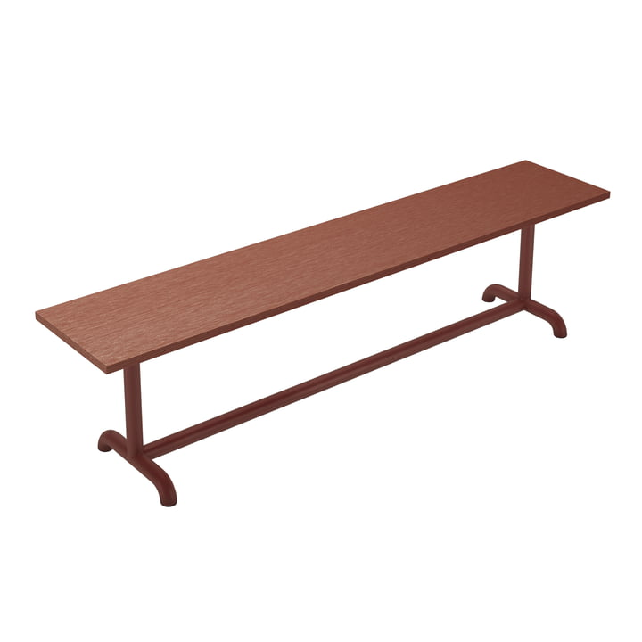 The Unify bench from Petite Friture , 180 cm, red-brown