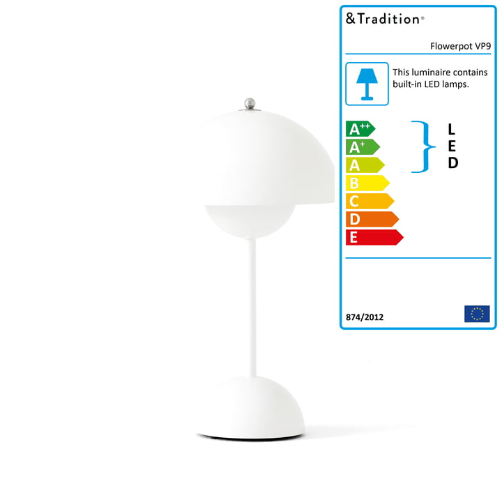 The Flowerpot battery-powered table lamp VP9 from & Tradition in white