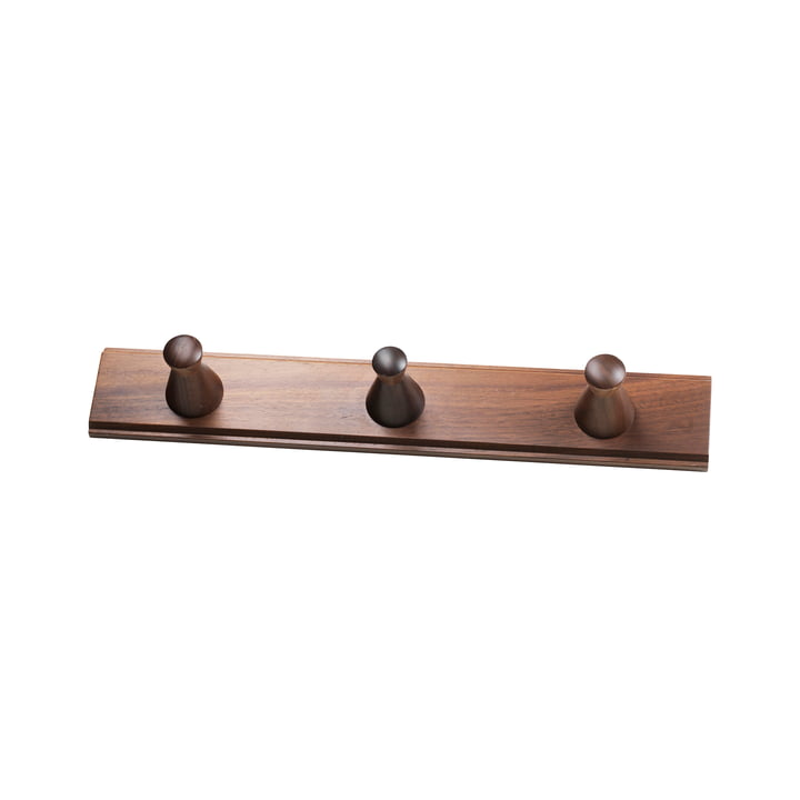 The Q3 Allé wall coat rack from FDB Møbler with 3 hooks in walnut