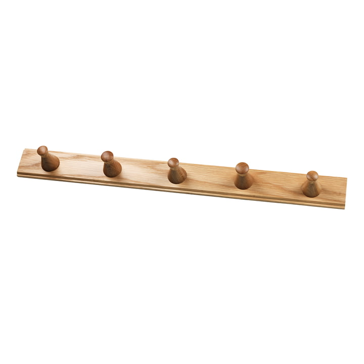 The Q3 Allé wall coat rack from FDB Møbler with 5 hooks in natural oak