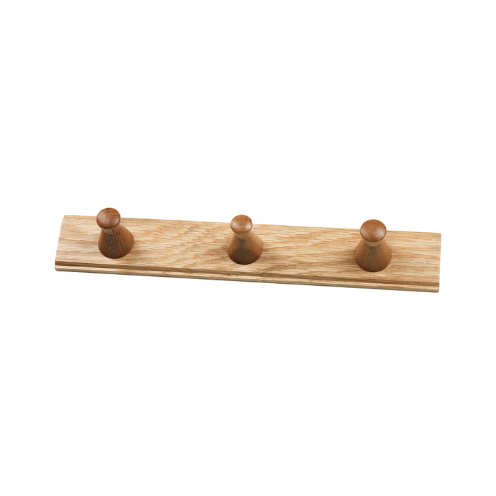 The Q3 Allé wall coat rack from FDB Møbler with 3 hooks in natural oak
