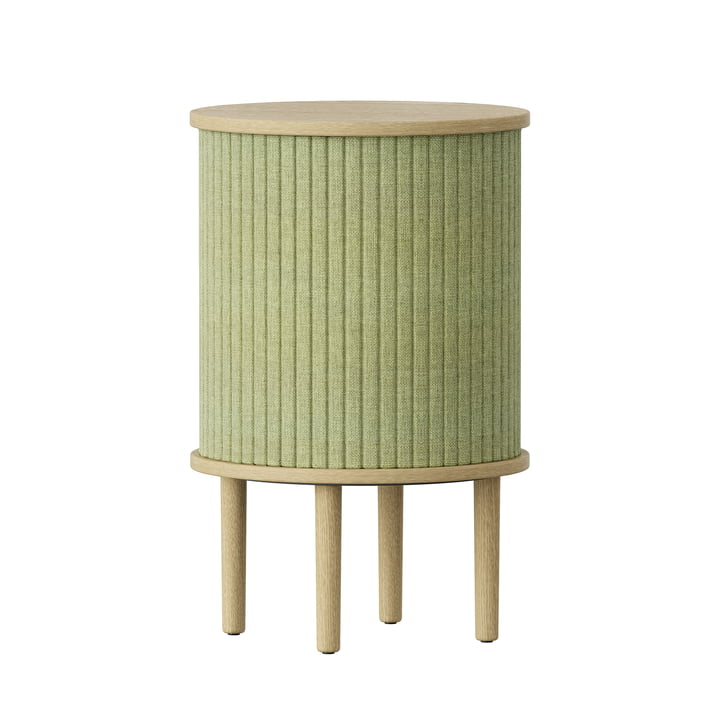 The Audacious side table from Umage with USB connection in oak nature / spring green