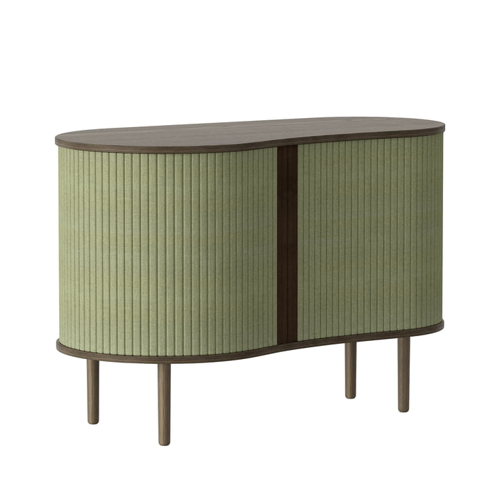 The Audacious chest of drawers from Umage in dark oak / spring green